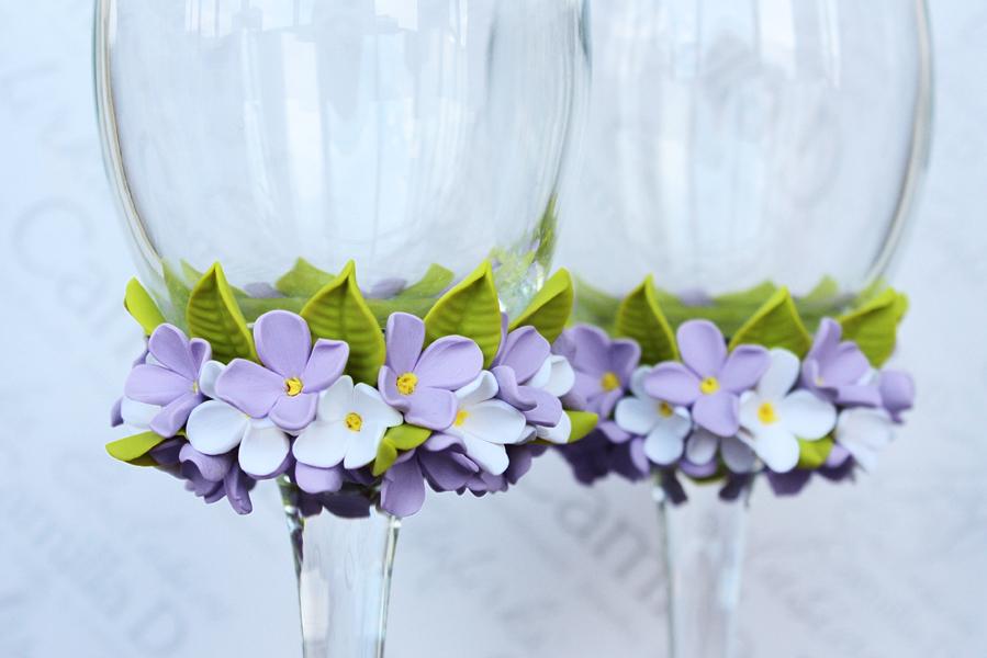 Цветы на бокалы из полимерной глины своими руками