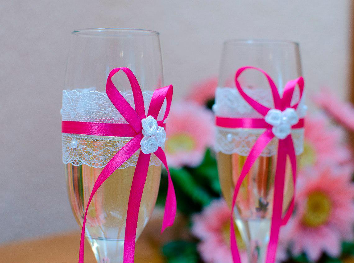 Украсить бокалы свадебные своими руками