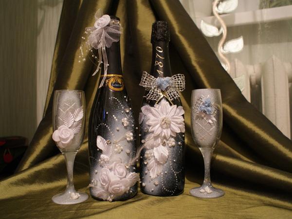 Украсить бутылку шампанского своими руками фото
