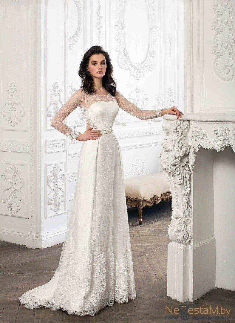 12ba76059f5 Свадебное платье Прямое закрытое кружевное с открытой спиной длинное ...