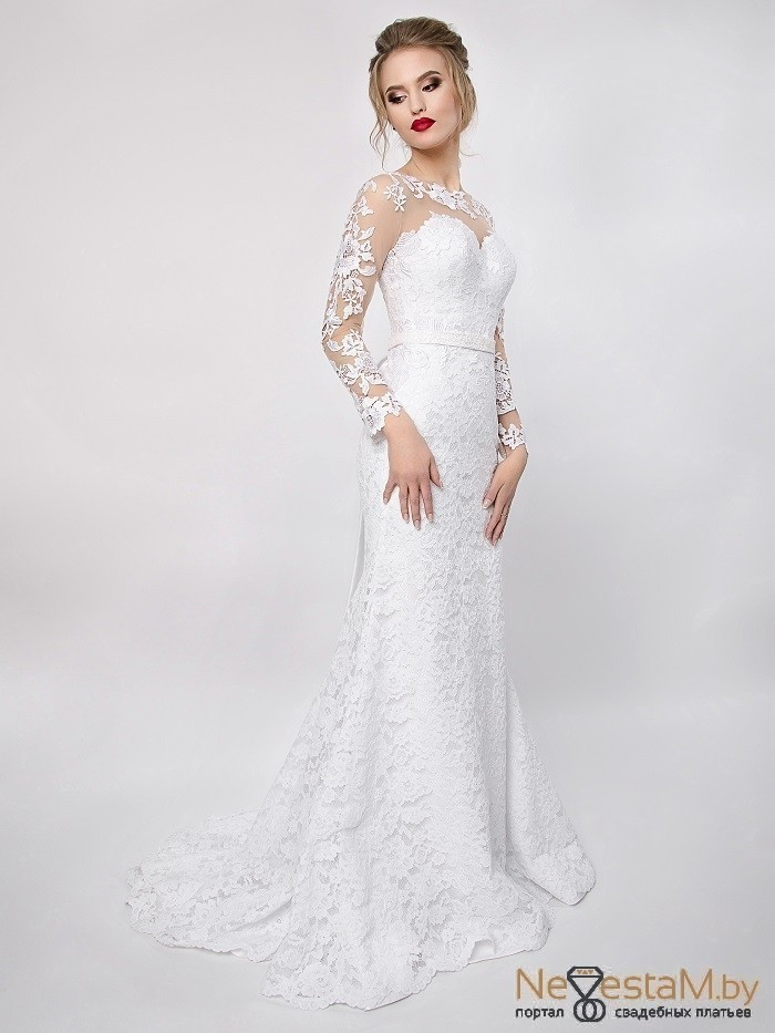 7f4d7743add Свадебное платье Годе (русалка) закрытое с рукавами кружевное ...