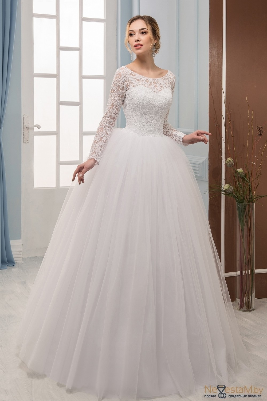 ecc57c70bee2697 Свадебное платье Бальное (пышное) кружевное закрытое с рукавами со ...