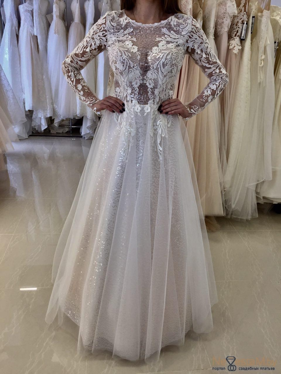 Свадебное платье Прямое с рукавами длинное кружевное 2018 №5579 ... ffb24f679cc